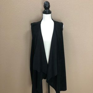 Calvine Klein black sleeves drape open cardigan 1X